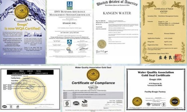 Các chứng nhận của máy lọc nước Kangen Leveluk SD501 Platinum