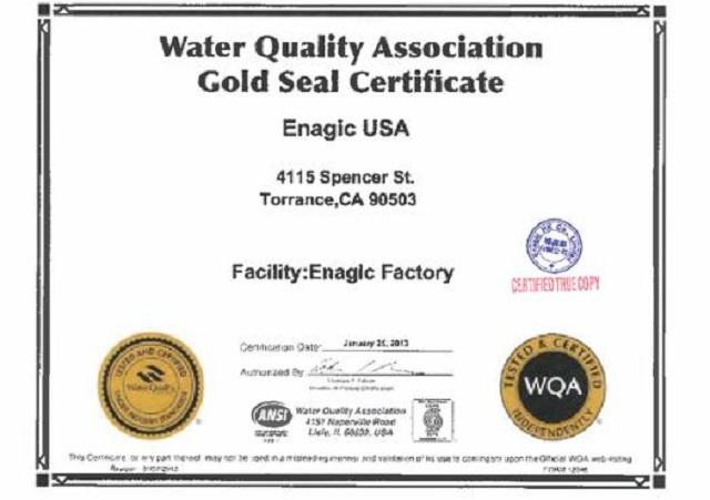 Chứng nhận của hiệp Hội chất lượng nước thế giới dành cho Enagic