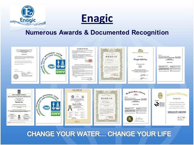 Enagic International, công ty sản xuất dòng sản phẩm Kangen Anespa DX được chứng nhận ISO 9001, ISO 14001 và ISO 13485 về kiểm soát chất lượng và quản lý môi trường